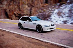 2002 Alpine White BMW M Coupe in Poudre Canyon