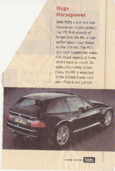 BMW M Coupe - Popular Science